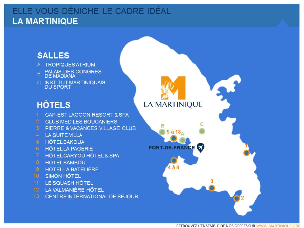carte Martinique MICE meetings events réunion séminaire événement